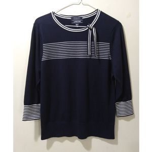 Land's End Classic Navy Knit Top M